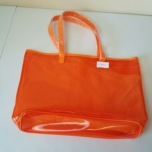 Clinique Orange Clear Jelly Plastic Tote Bag